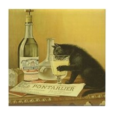 Vintage Absinthe Black Cat Tile Coaster