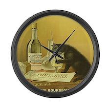 Vintage Absinthe Black Cat Large Wall Clock