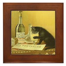 Vintage Absinthe Black Cat Framed Tile