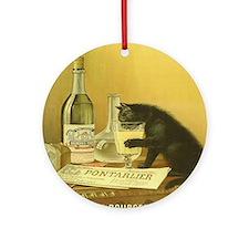 Vintage Absinthe Black Cat Round Ornament