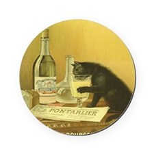 Vintage Absinthe Black Cat Cork Coaster
