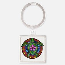 Sea Turtle Painting Square Keychain