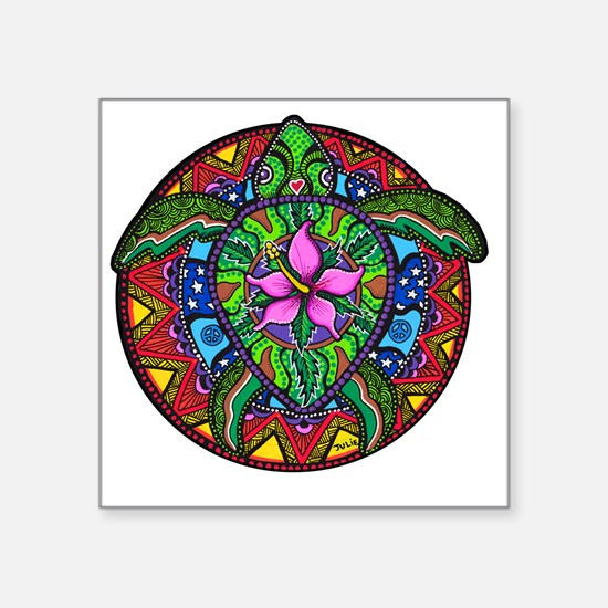"Sea Turtle Painting Square Sticker 3"" x 3"""