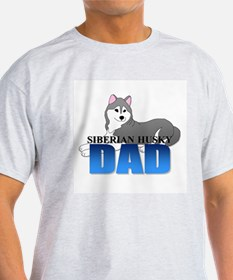 Gray Siberian Husky Dad T-Shirt