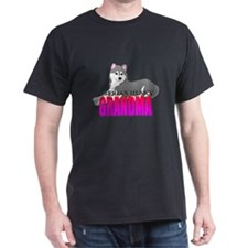Gray Siberian Husky Grandma T-Shirt