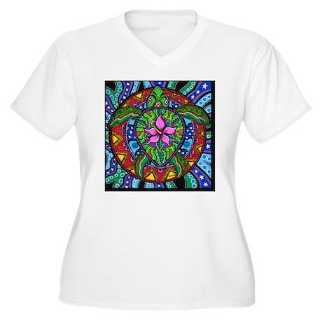Sea Turtle Painti Women's Plus Size V-Neck T-Shirt