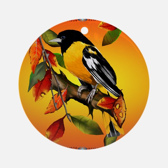 Oriole In Fall Round Ornament