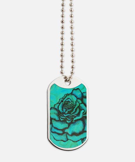 uiad Rose teal Dog Tags
