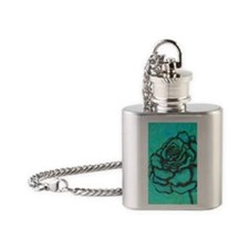 uiad Rose teal Flask Necklace