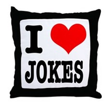 I Heart (Love) Jokes Throw Pillow