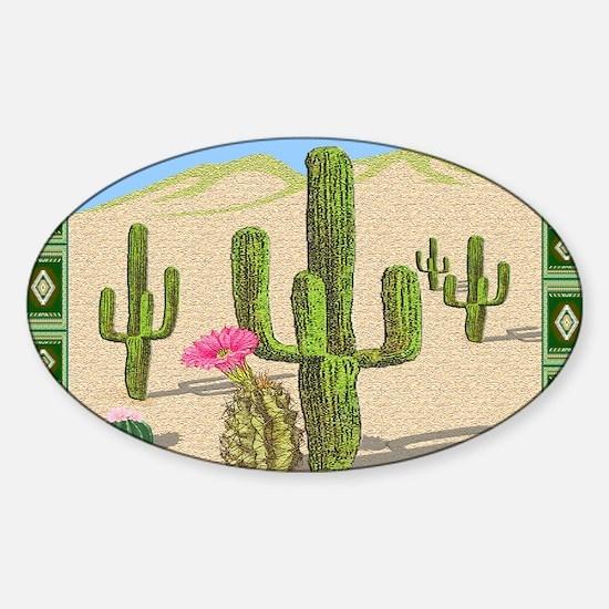 desert cactus area rug Sticker (Oval)