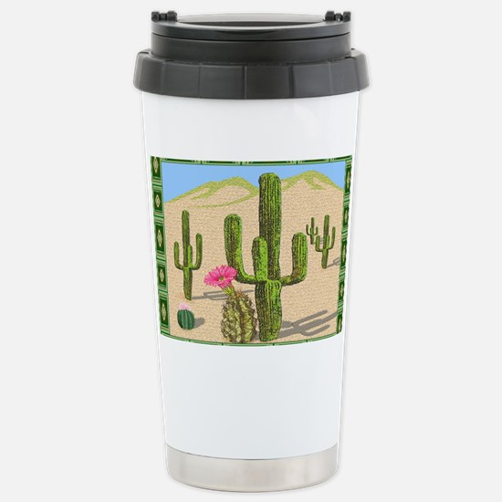 desert cactus area rug Stainless Steel Travel Mug