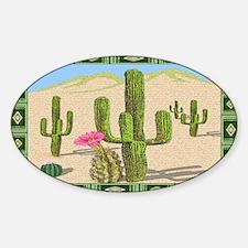 cactus area rug Sticker (Oval)