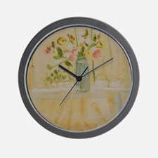 Flowers at Afternoon Tea Wall Clock