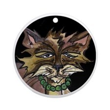 Cat in Circle Round Ornament