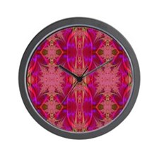 red and mauve curtain Wall Clock
