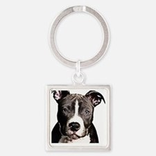 Cartoon Pit Pup Square Keychain