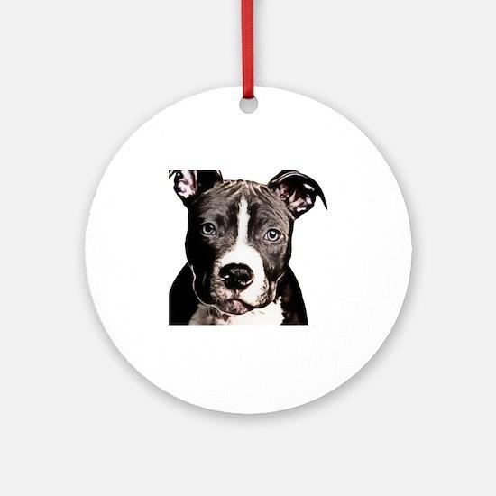 Cartoon Pit Pup Round Ornament