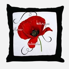 Poppy Floral Throw Pillow