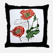 Poppies French  Vintage Art Throw Pillow