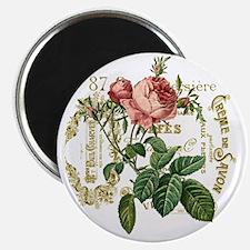 Pink Rose French ephemera Magnet