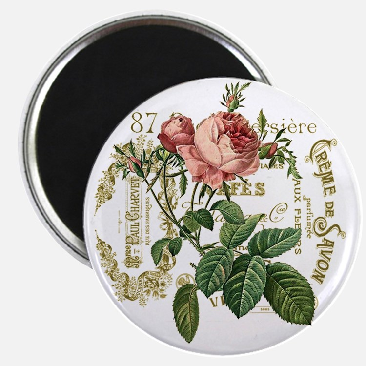 Pink Rose French ephemera Magnet