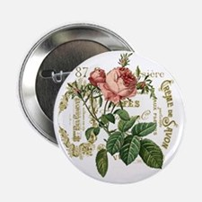 "Pink Rose French ephemera 2.25"" Button"