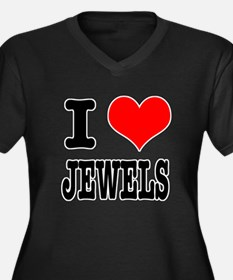 I Heart (Love) Jewels Women's Plus Size V-Neck Dar