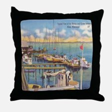 Shrimp and Oyster Boat Postcard Throw Pillow