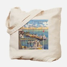 Shrimp and Oyster Boat Postcard Tote Bag
