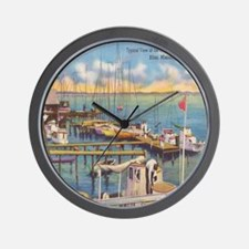 Shrimp and Oyster Boat Postcard Wall Clock