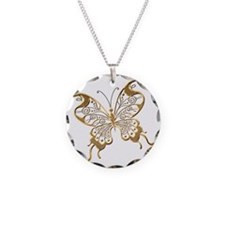 Golden Butterfly Necklace Circle Charm
