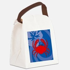 Crab Square Compact Mirror Canvas Lunch Bag
