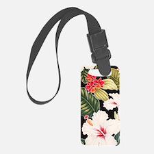 Aloha Shirt Hibiscus Black Luggage Tag