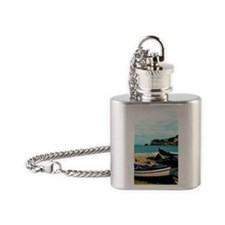Portugal Algarve Cliffs with Boats Flask Necklace
