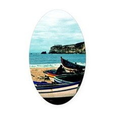Portugal Algarve Cliffs with Boats Oval Car Magnet