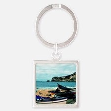 Portugal Algarve Cliffs with Boats Square Keychain