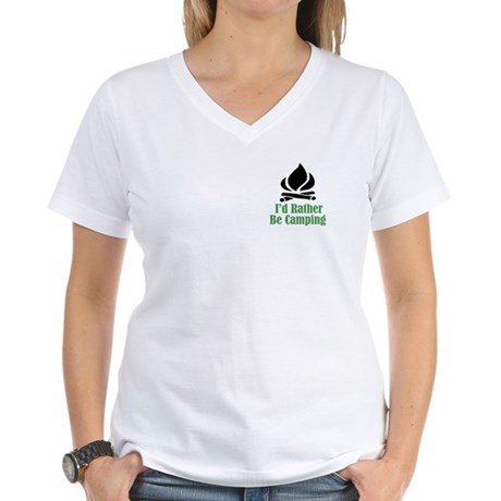Rather Be Camping Women's V-Neck T-Shirt