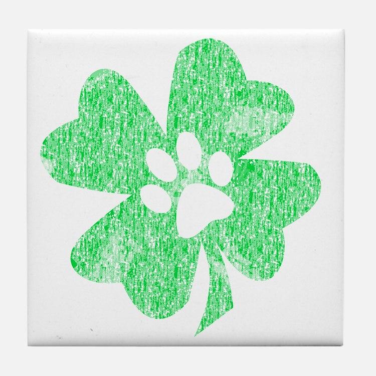 Paw Shamrock Tile Coaster