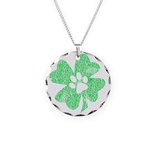 Paw Shamrock Necklace Circle Charm