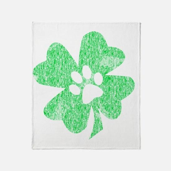 Paw Shamrock Throw Blanket