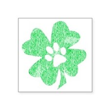 "Paw Shamrock Square Sticker 3"" x 3"""