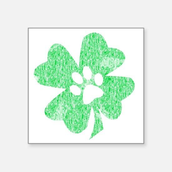 "Paw Shamrock Square Sticker 3"" x 3"""