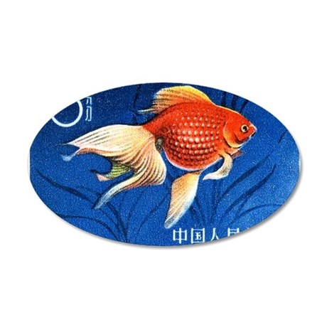 1960 China Fantail Goldfish 35x21 Oval Wall Decal