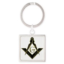 Metallic Square and Compasses Square Keychain