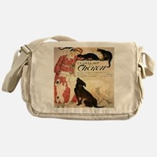 Vintage French Woman Dogs Cats Messenger Bag
