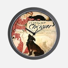 Vintage French Woman Dogs Cats Wall Clock