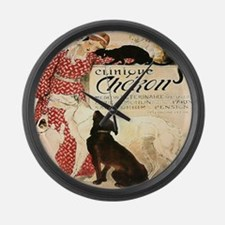 Vintage French Woman Dogs Cats Large Wall Clock