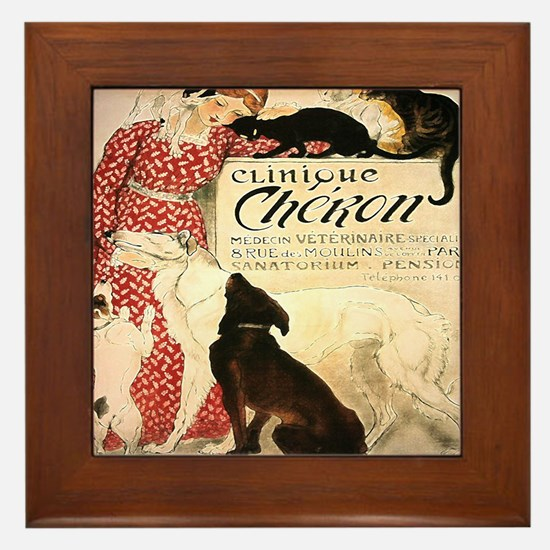 Vintage French Woman Dogs Cats Framed Tile