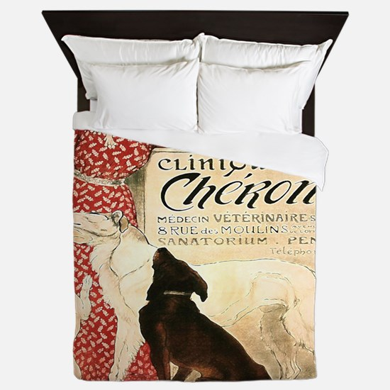 Vintage French Woman Dogs Cats Queen Duvet